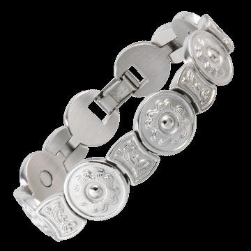 Round Flower Stainless Magnetic Bracelet