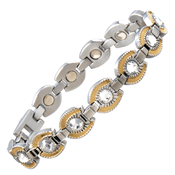 Ladies Gem Gold Horseshoe Magnetic Bracelet
