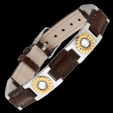 Brown Leather Gem Duet Magnetic Bracelet