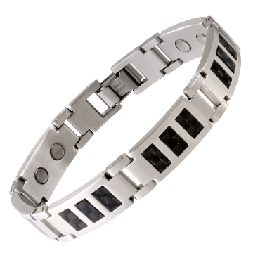 Black Carbon Fiber Stainless Magnetic Bracelet