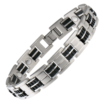 Executive Stainless/Rubber Magnetic Bracelet