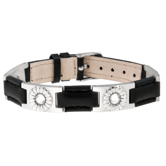 Black Leather Gem Stainless Magnetic Bracelet