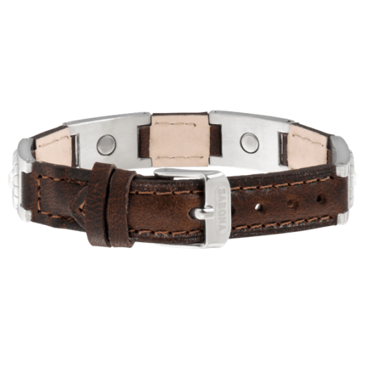 Brown Leather Gem Stainless Magnetic, back