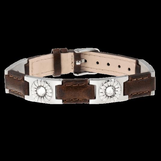Brown Leather Gem Stainless Magnetic Bracelet