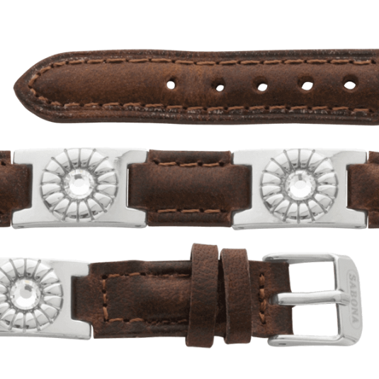 Brown Leather Gem Stainless Magnetic, straight