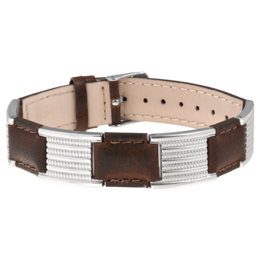 Brown Leather Dress Stainless Magnetic Bracelet