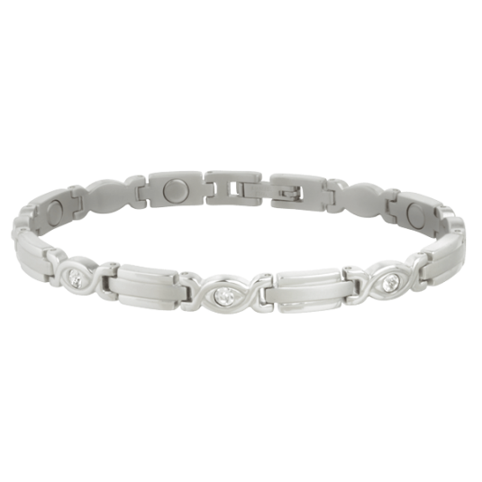 Lady Executive Silver Gem Magnetic Bracelet