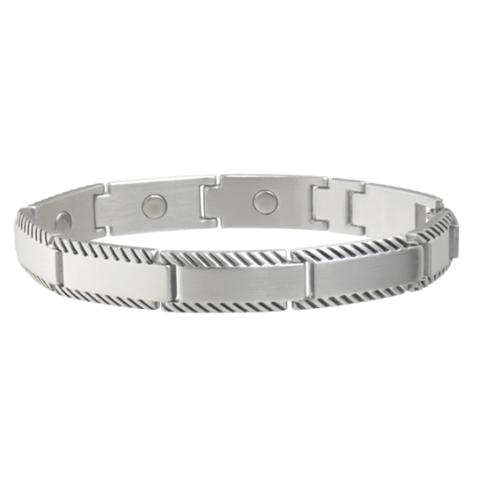 Brushed Stainless Rope Edge Magnetic Bracelet