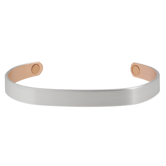 Brushed Silver Original Copper Magnetic Wristband