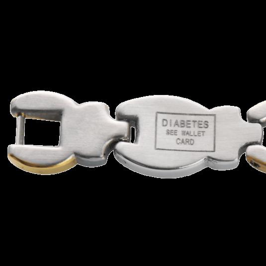 Ladies' Magnetic Med Id Bracelet - Diabetic, closeup
