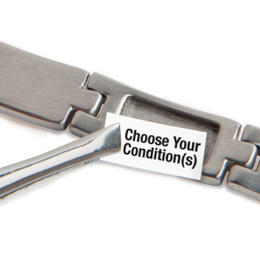 Stainless MyConditions Medical ID Bracelet, closeup